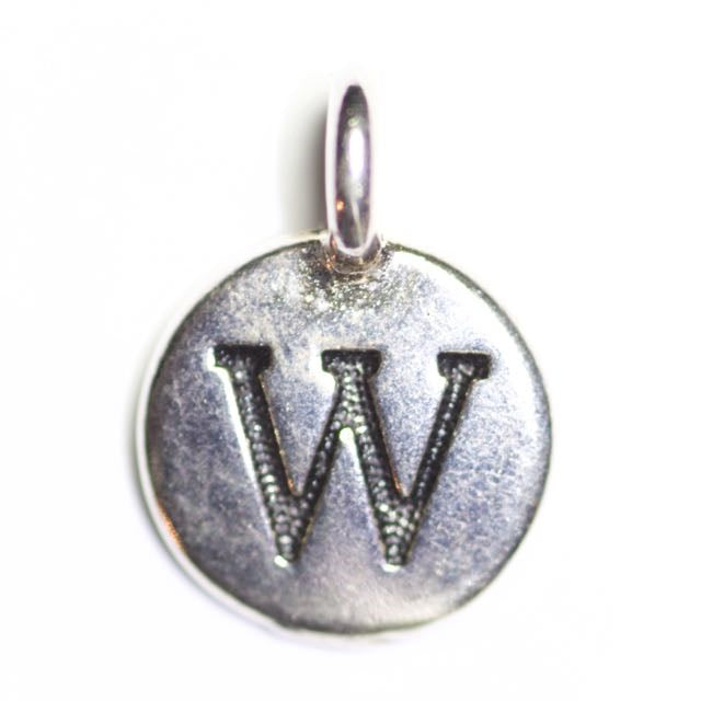 "Letter ""W"" Charm - Antique Silver Plate"