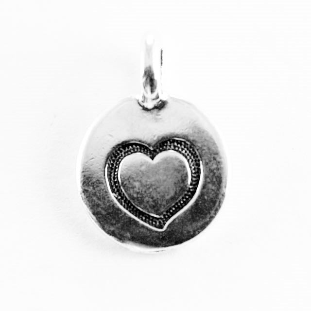 Heart Charm - Antique Silver Plate