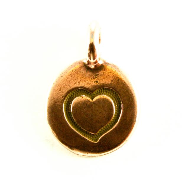 Heart Charm - Antique Copper Plate