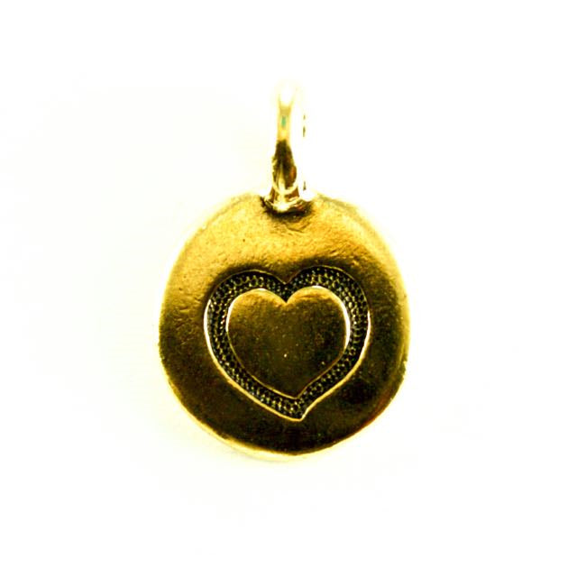 Heart Charm - Antique Gold Plate