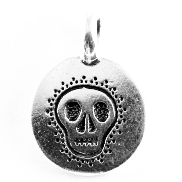 Skull Charm - Antique Silver Plate