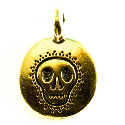 Skull Charm - Antique Gold