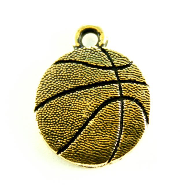 Basketball Charm - Antique Gold Plate