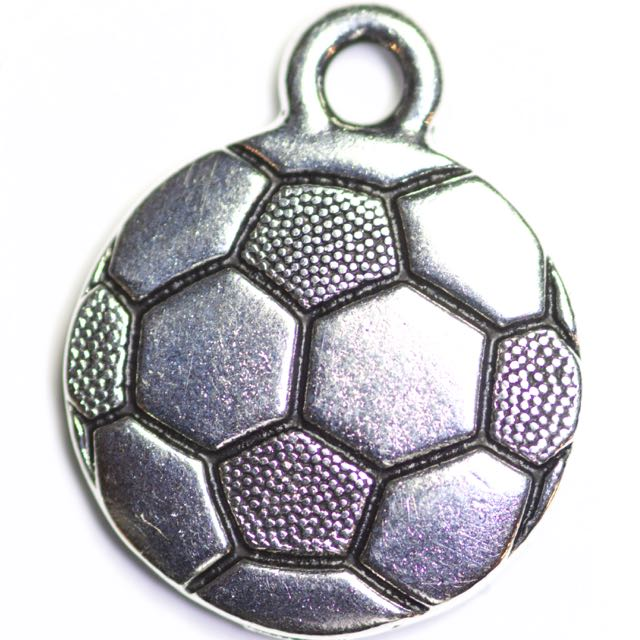 Soccer Ball Charm - Antique Silver Plate