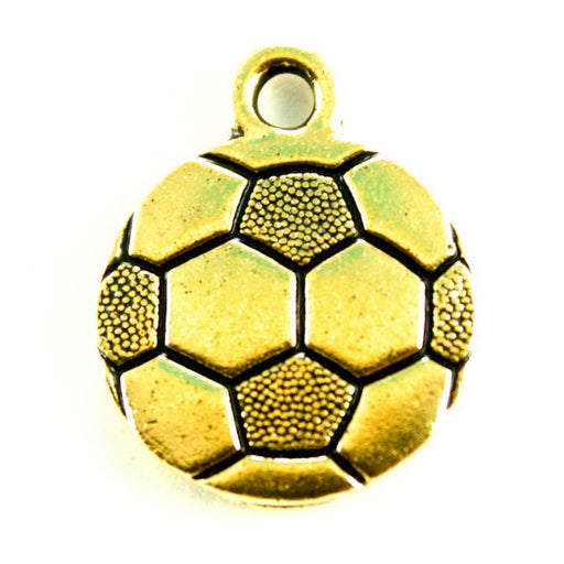 Soccer Ball Charm - Antique Gold Plate