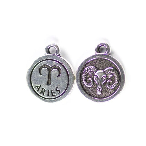 19mm ARIES Zodiac Sign - Antique Silver Plate