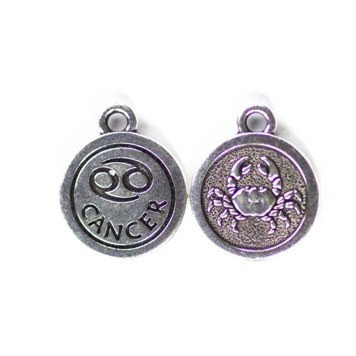 19mm CANCER Zodiac Sign - Antique Silver Plate