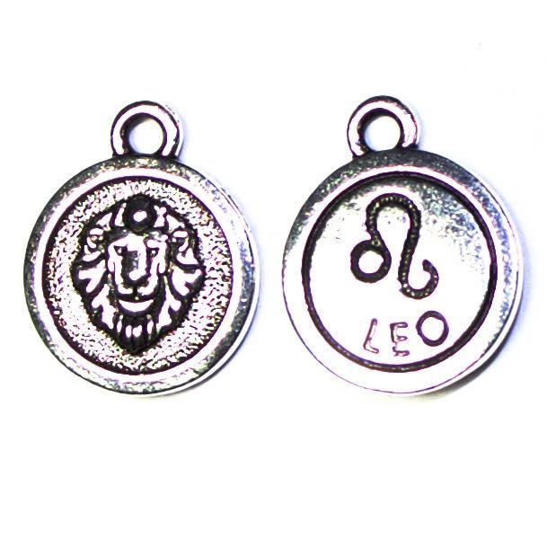 19mm LEO Zodiac Sign - Antique Silver Plate