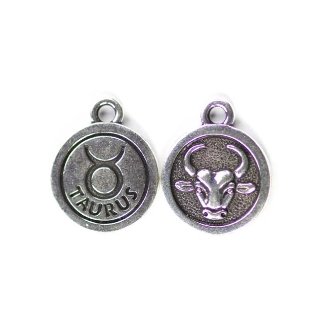 19mm TAURUS Zodiac Sign - Antique Silver Plate