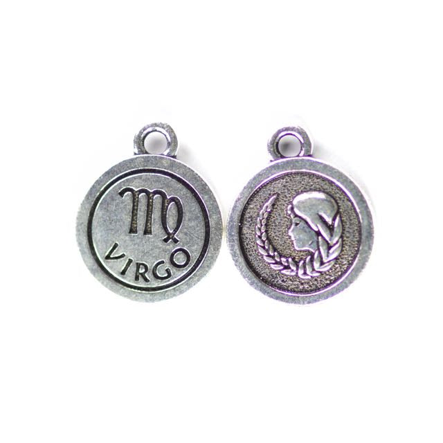 19mm VIRGO Zodiac Sign - Antique Silver Plate