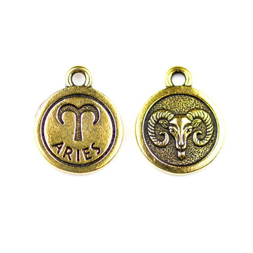 19mm ARIES Zodiac Sign - Antique Gold Plate