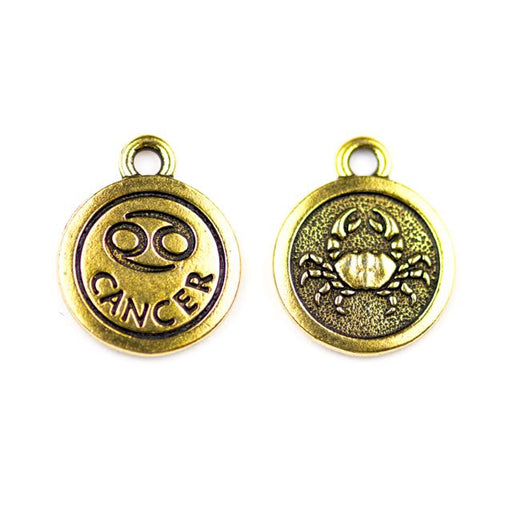 19mm CANCER Zodiac Sign - Antique Gold Plate