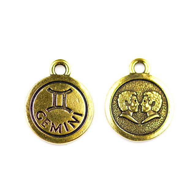 19mm GEMINI Zodiac Sign - Antique Gold Plate