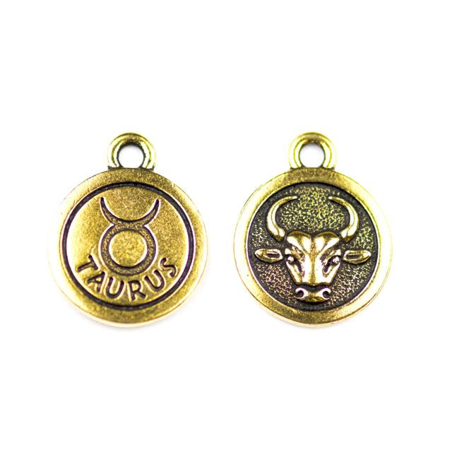 19mm TAURUS Zodiac Sign - Antique Gold Plate