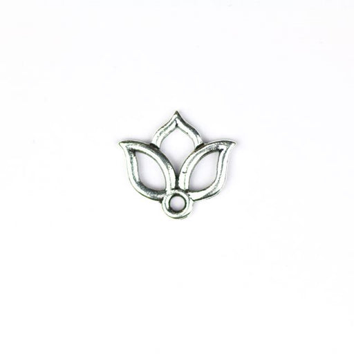 Open Lotus Charm - Antique Silver