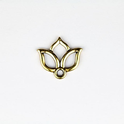 Open Lotus Charm - Antique Gold Plate
