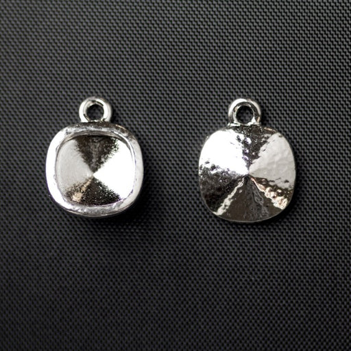 10mm Hammered Cushion Bezel Drop - Rhodium Plate