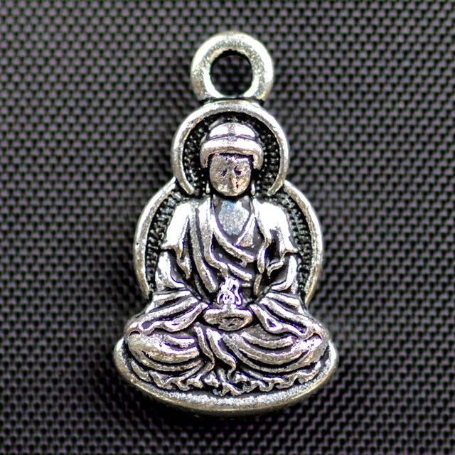 Sitting Buddha Charm - Antique Silver Plate