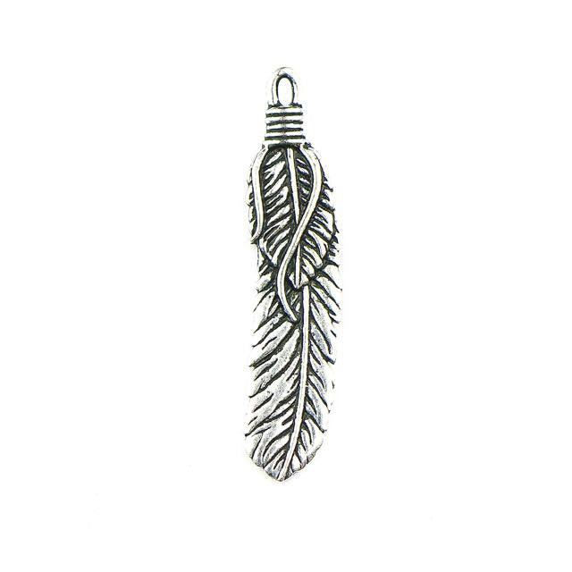 2 Feather Pendant - Antique Silver