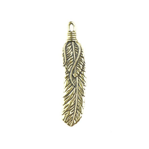 2 Feather Pendant - Antique Gold