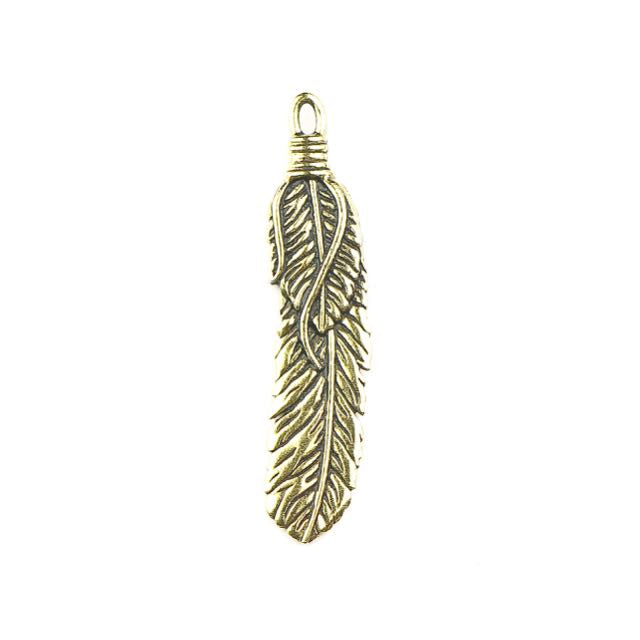 2 Feather Pendant - Antique Gold Plate