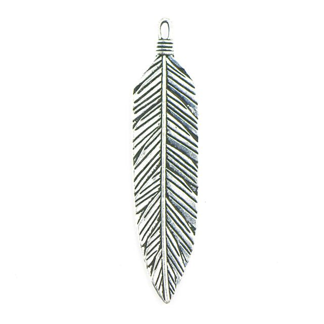 3 Feather Pendant - Antique Silver Plate