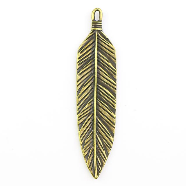 3 Feather Pendant - Brass Oxide