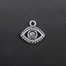 Evil Eye Bezel Charm - Antique Silver Plate