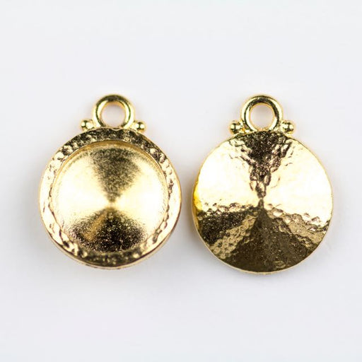 12mm Hammered Rivoli Bezel Drop - Gold Plate