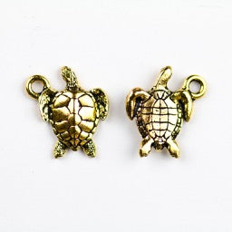 Sea Turtle Charm - Antique Gold