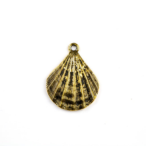 Scalloped Shell Pendant - Antique Gold