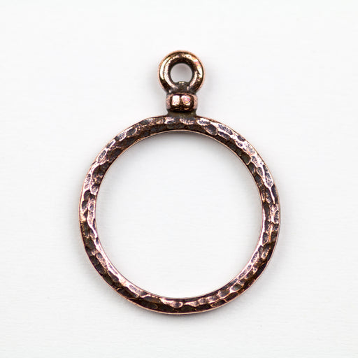 Stitch-around 18mm Hoop Charm - Antique Copper Plate