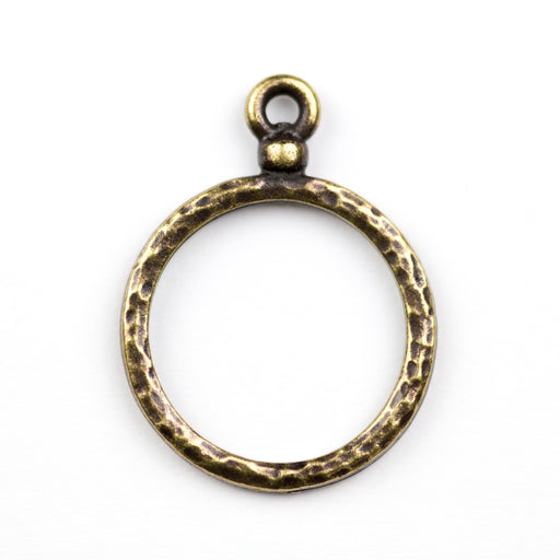 Stitch-around 18mm Hoop Charm - Oxidized Brass