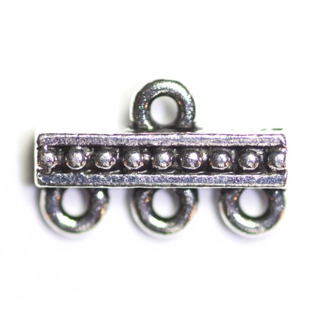 Beaded 3-1 Link - Antique Silver Plate