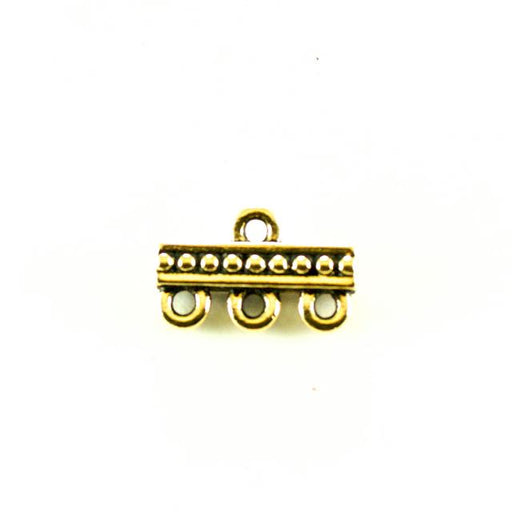Beaded 3-1 Link - Antique Gold Plate
