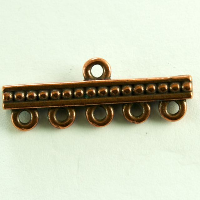 5-1 Beaded Link - Antique Copper Plate