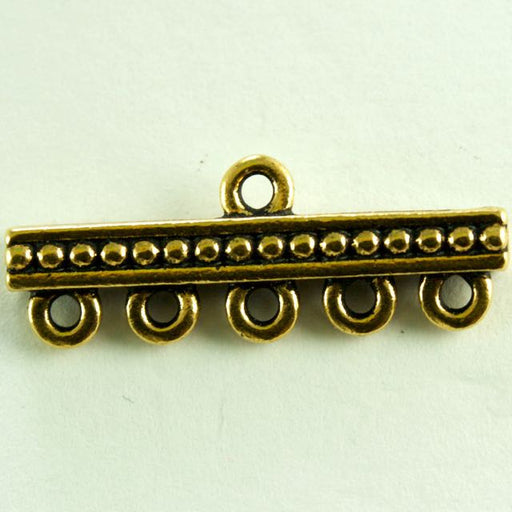 5-1 Beaded Link - Antique Gold Plate