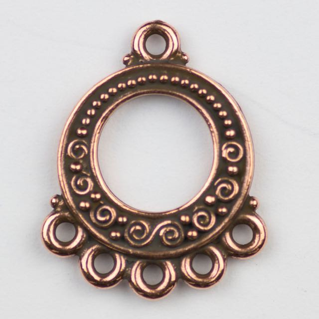 Spiral and Bead Link - Antique Copper Plate