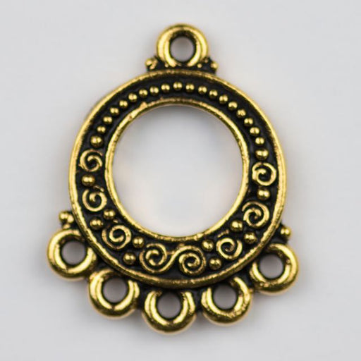 Spiral and Bead Link - Antique Gold Plate