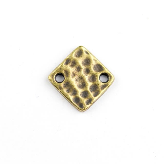 Hammertone Diamond Link - Oxidized Brass
