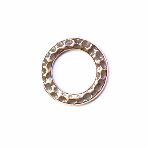 Small Hammered Ring Link - Antique Copper