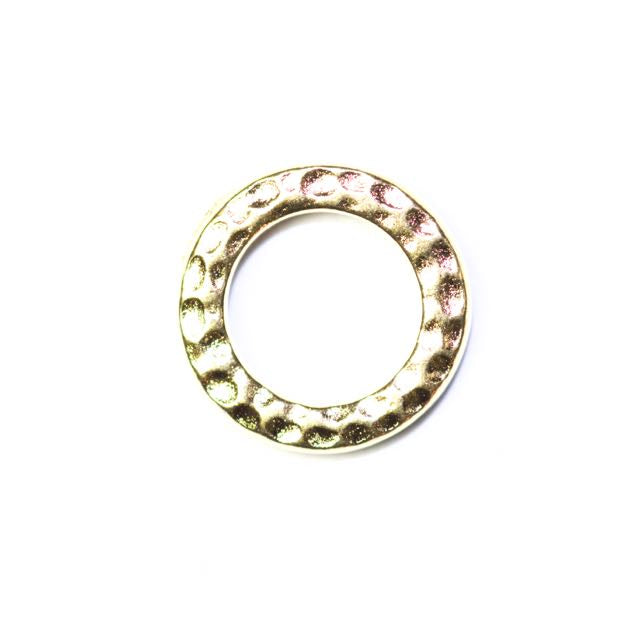 Small Hammered Ring Link - Bright Gold Plate