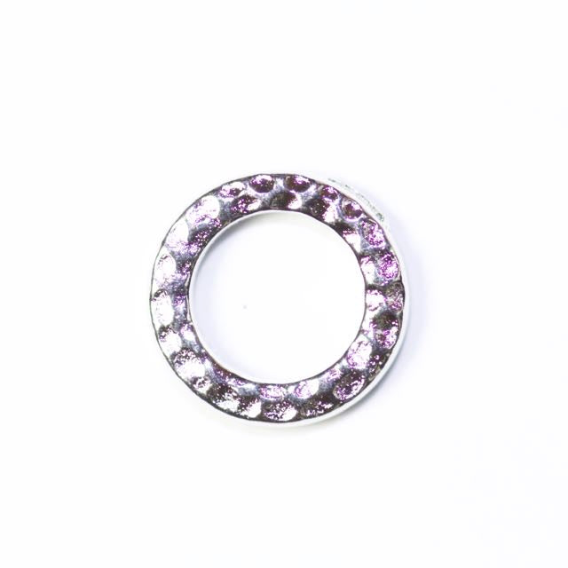 Small Hammered Ring Link - Rhodium Plate