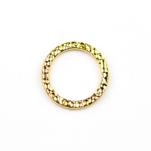 Large Hammered Ring Link - Bright Gold Plate