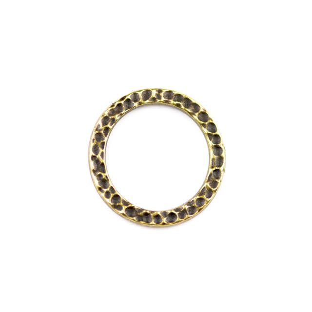 Large Hammered Ring Link - Oxidized Brass