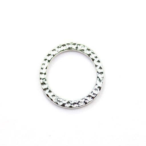 Large Hammered Ring Link - Rhodium Plate