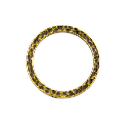 1 Hammertone Ring Link - Oxidized Brass