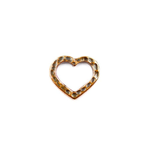 Hammertone Heart Link - Antique Copper