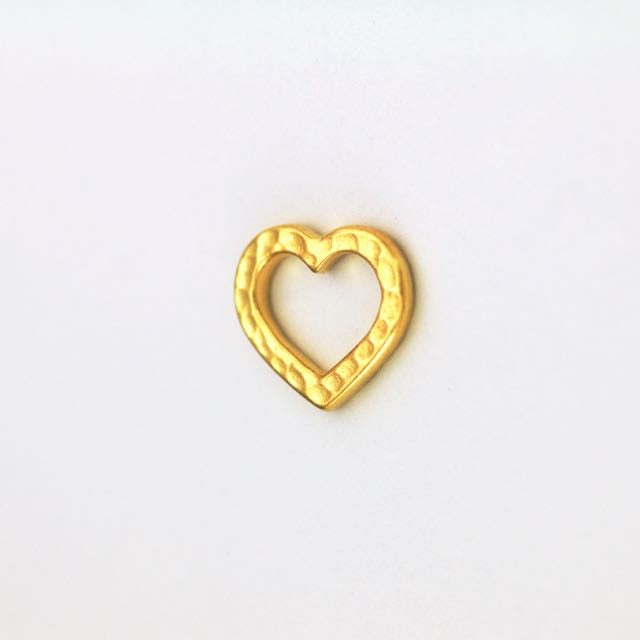 Hammertone Heart Link - Bright Gold Plate