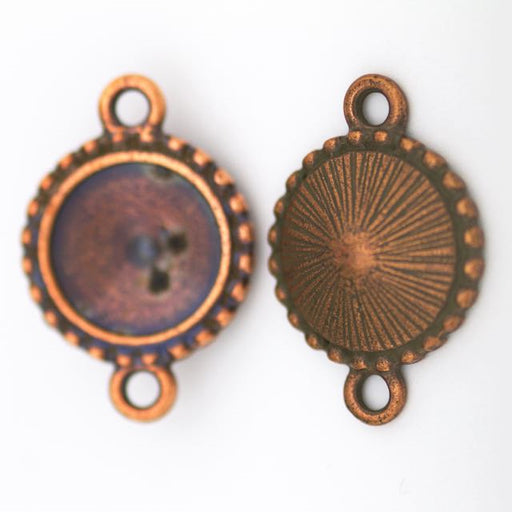 12mm Beaded Round Link Frame - Antique Copper Plate
